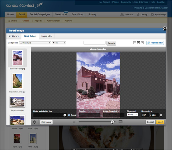 Email Marketing features > Create > Image Editing and Storage