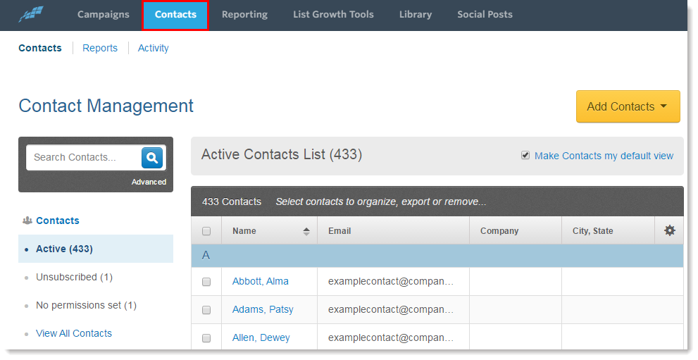 Import or Upload a File of Contact Email Addresses