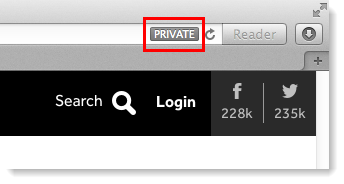 Private in address bar