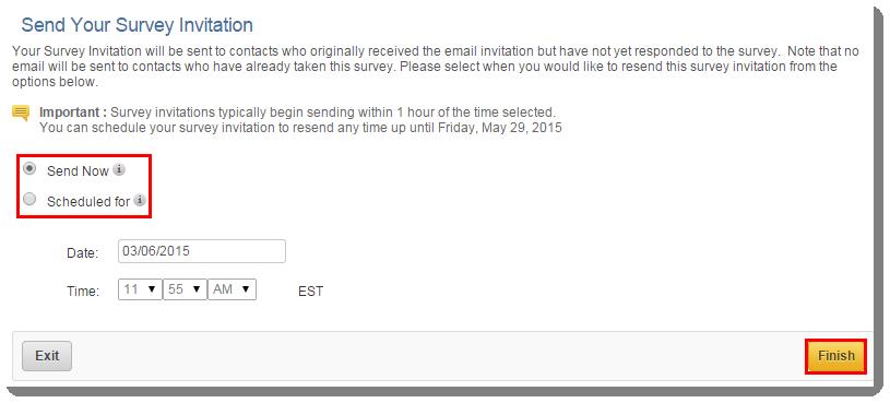 resend a survey invitation