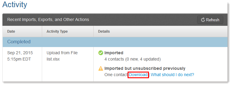 View Imported Contacts That Previously Unsubscribed