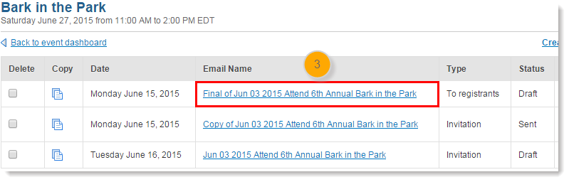 Change an event related emails message header click the name of the email you want to edit stopboris Gallery