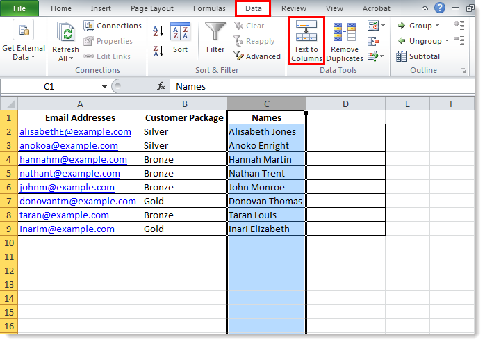 excel contact number