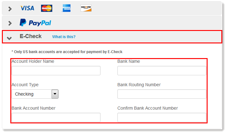 Paying for Your Account with an E-Check