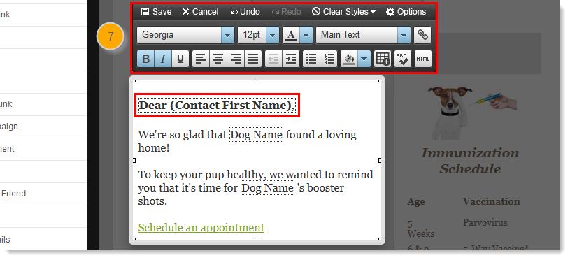 Add a personalized greeting to a campaign email greeting tag text editor m4hsunfo