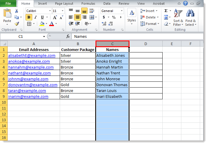 separate contacts first name and last name in excel