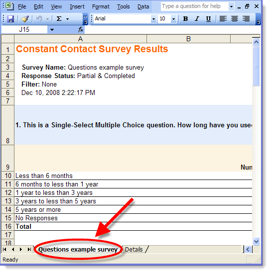 examples of exported survey results