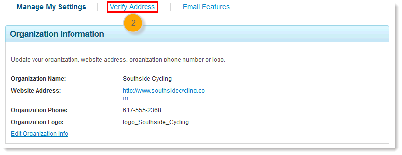 verify the account email address