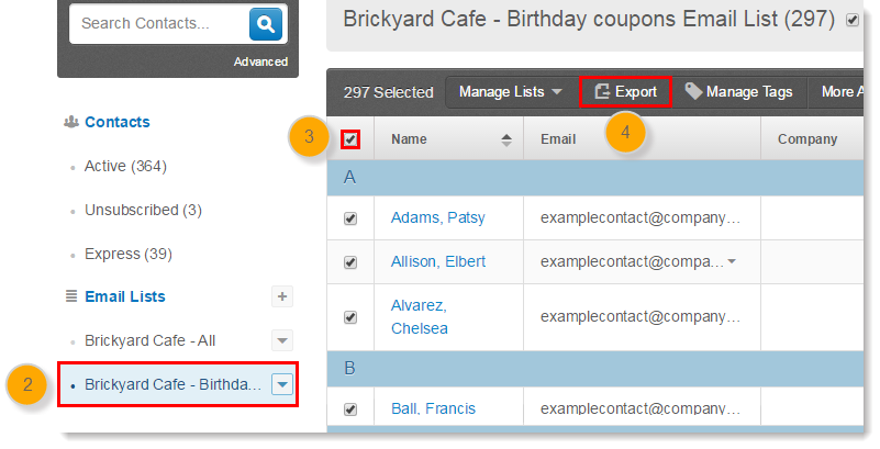 Exporting a Contact List from Constant Contact