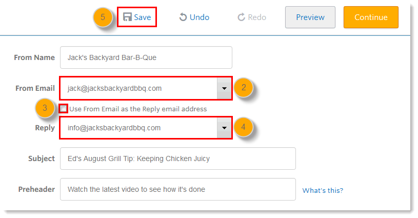 From Email Menu, Reply Email Menu, and Save Link
