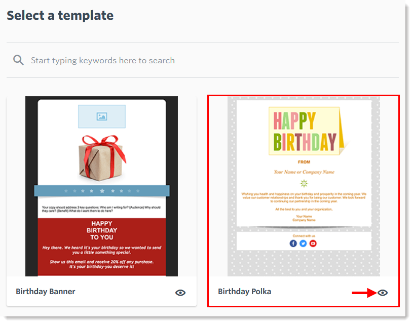 create a recurring birthday email