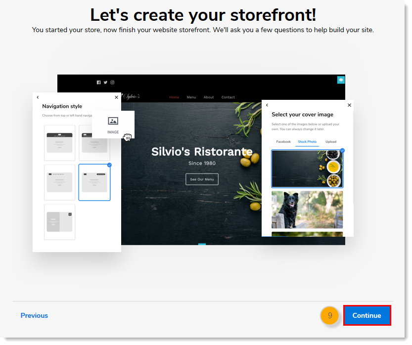 Let's create your storefront page with Continue button