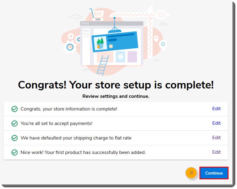 Store setup complete, Continue button