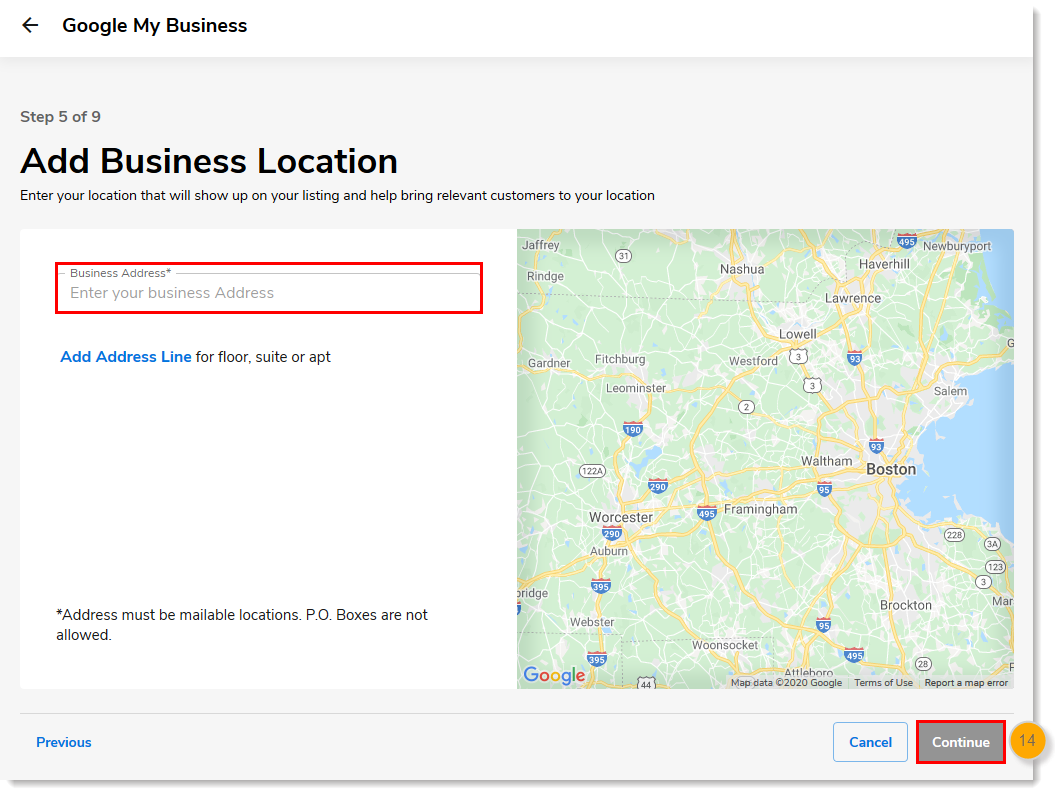 Business Address field with Continue button