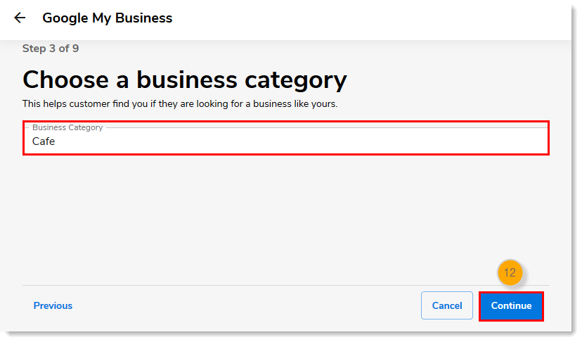 Business Category field with Continue button