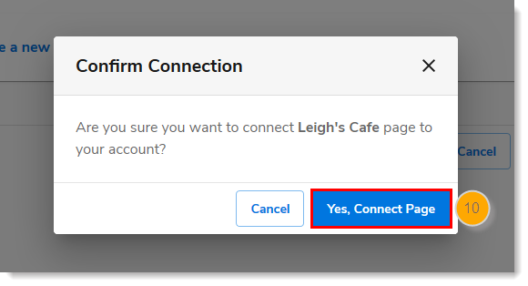 Confirm Connection to existing page with Yes, Connect Page button