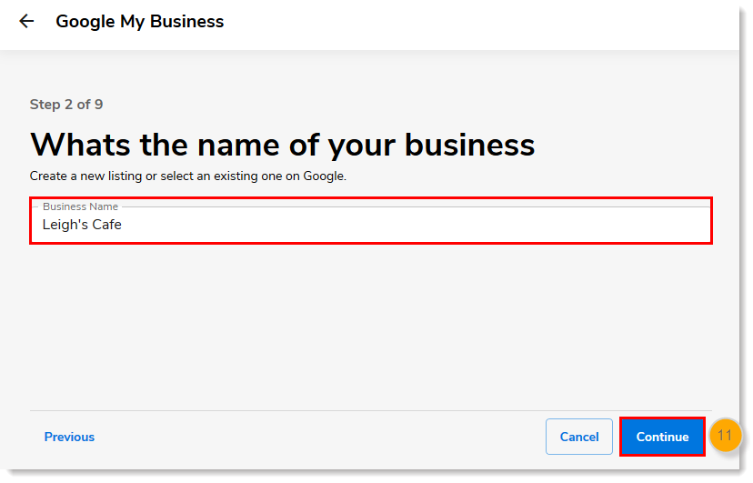 Business Name field and Continue button