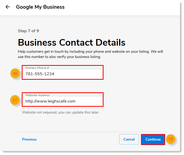 Business Contact Details page, Primary Phone and Website Address fields, Continue button