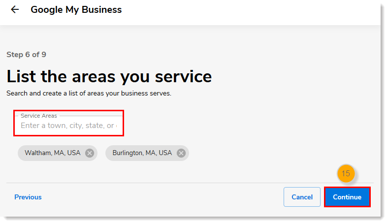Service Areas field with Continue button