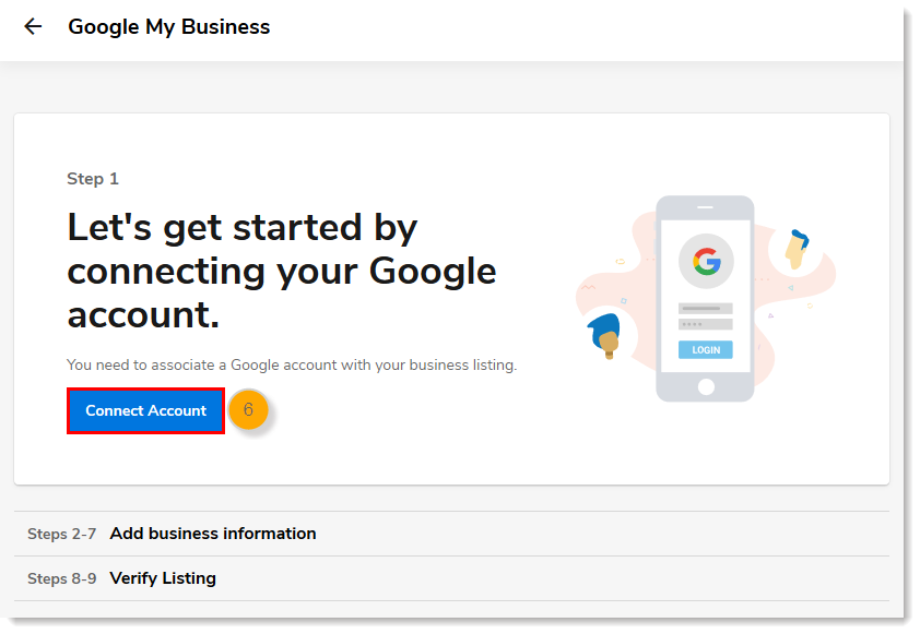 Step 1 page with Connect Account button
