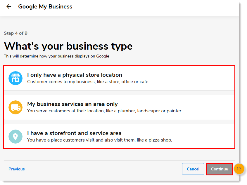 Business Type options with Continue button