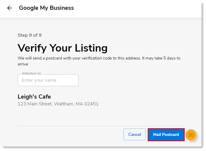 Verify Your Listing page with Mail Postcard button