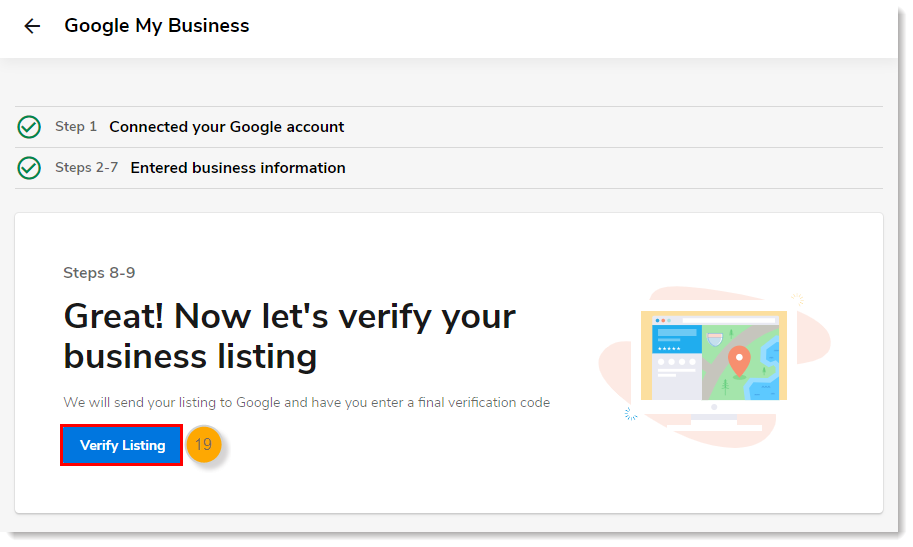 Steps 8-9 page with Verify Listing button