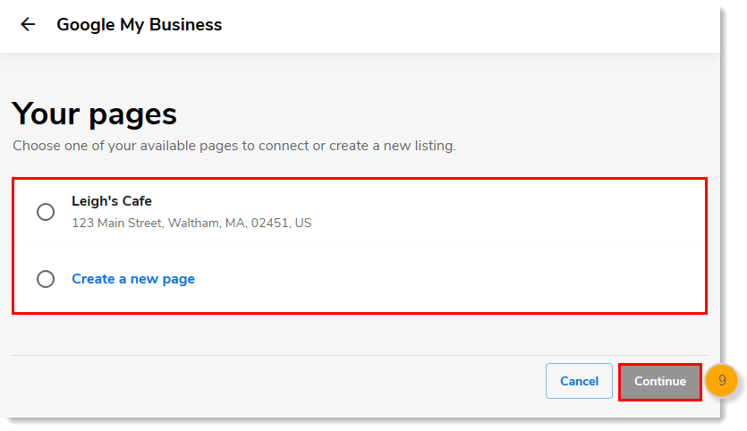 Your business pages, existing listing or Create a New Page options, Continue button