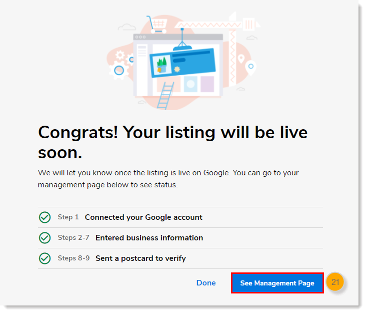 Congrats page with See Management Page button