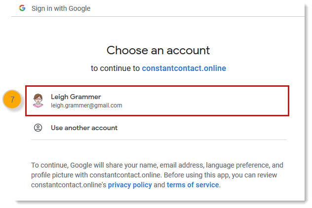 Google sign-in page, choose an account