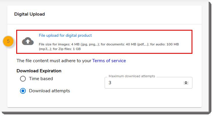 Digital Upload section with File upload for digital product Link