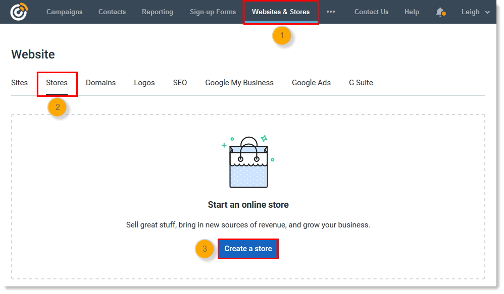 Website tab, Stores tab, Create a Store button