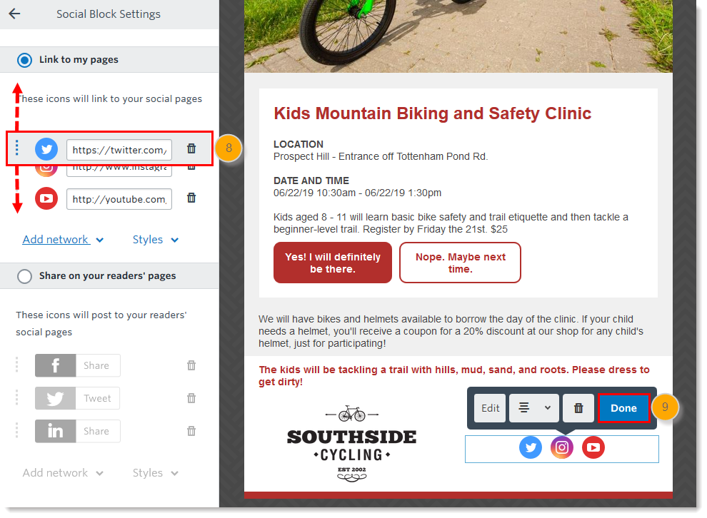 Insert or Remove Social Media Icons in an Email