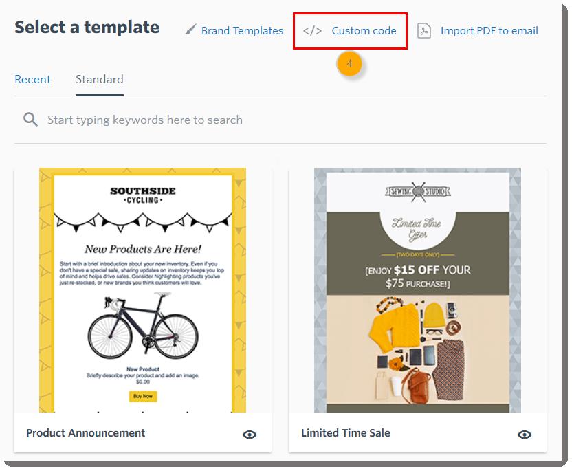 Use Custom HTML Code to Create an Email