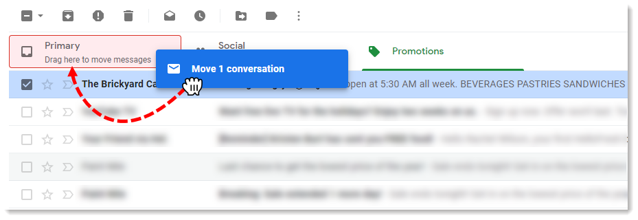 Click and drag email into Primary tab