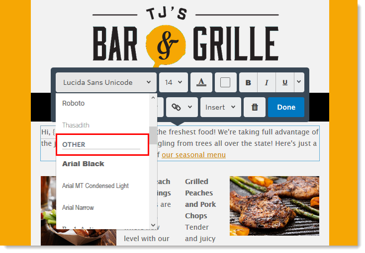 Web-safe Font Selections in Emails