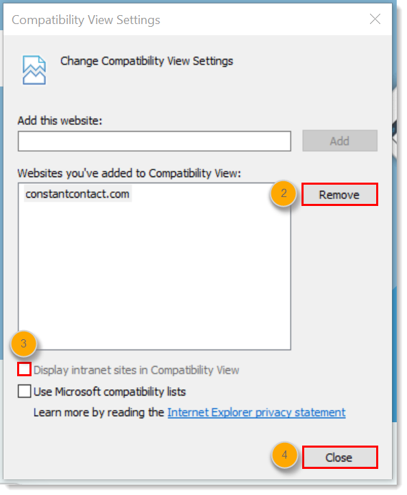 Disable Compatibility View in Internet Explorer