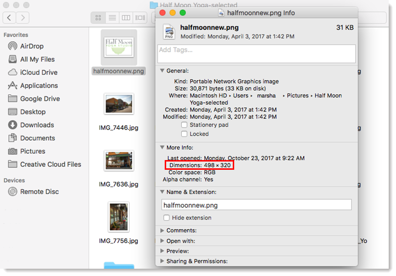 Determine an Image's File Size and Dimensions