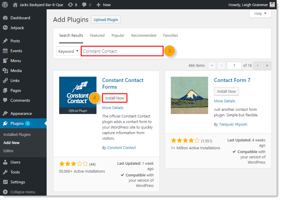 Install the Constant Contact Forms Plugin in WordPress
