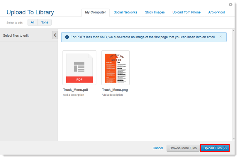 Create an Image From a PDF While Uploading to the Library