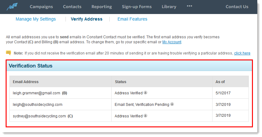 Verify an Email Address
