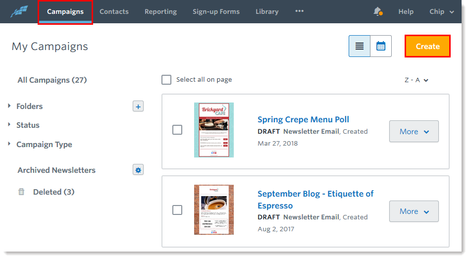 Campaigns Tab And Create Button Select Email Automation
