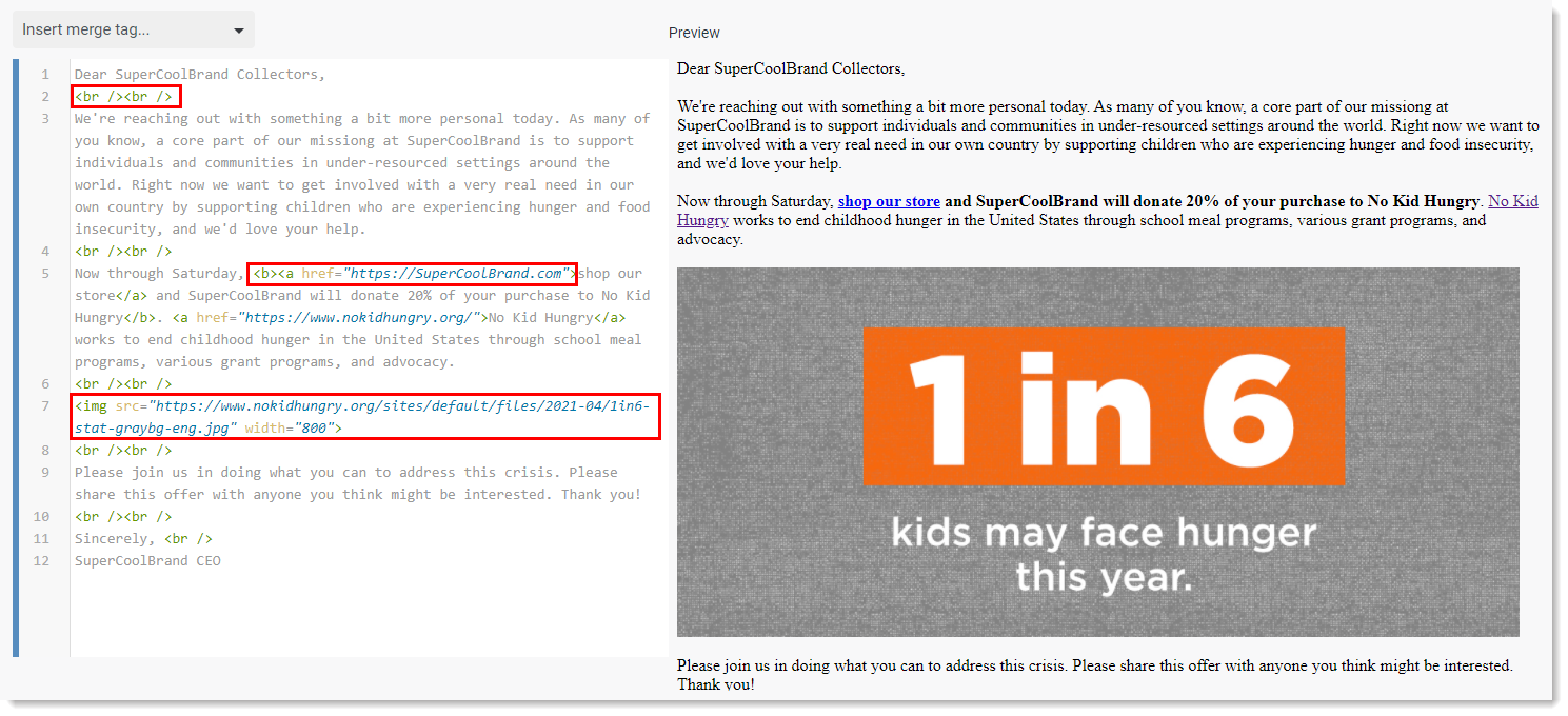 HTML Editor Example Email