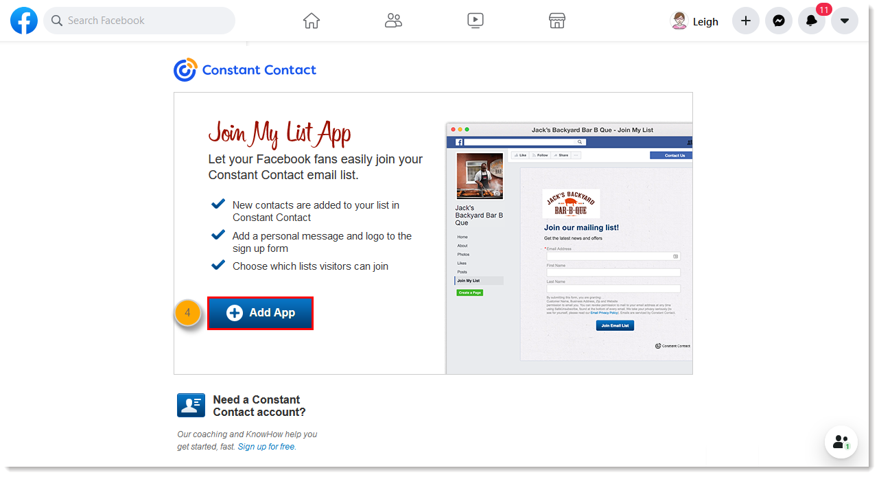 Add the Join My List App to a Facebook Business Page to Collect New Sign-ups