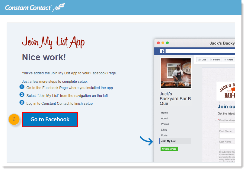 Add the Join My List App to a Facebook Business Page