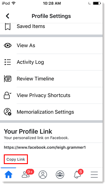 Business page Profile Settings, Your Profile Link section, page URL, and Copy Link button