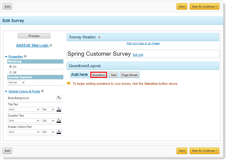 Create a Survey – Blank Survey