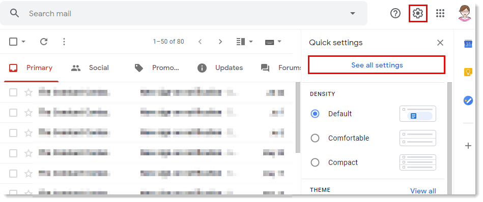 Gmail settings drop-down