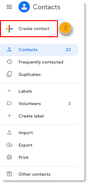 Contacts Sidebar Create Contact