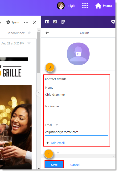 Yahoo Create New Contact